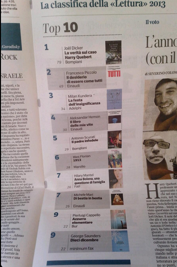 La Lettura - classifica 2013