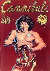 La copertina del primo numero di Cannibale con il ritratto di Stefano Tamburini che si sbrana fatto da Tanino Liberatore