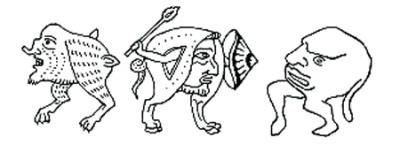 Grilli gotici (creature composte da teste con gambe)
